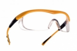 Yellow nylon frame adjustable &pivoting temples -clear PC anti-scratch &anti-fog